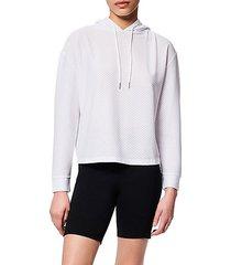 mesh-knit hoodie