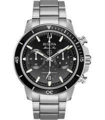 bulova men's chronograph marine star stainless steel bracelet watch 45mm
