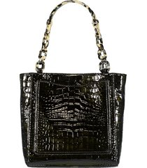 embossed croc mini tote