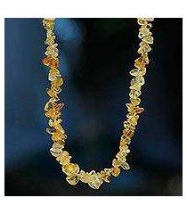 citrine long beaded necklace, 'light caramel' (brazil)