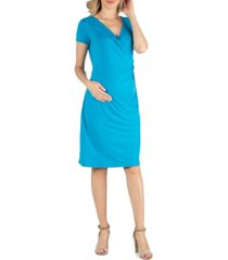 24seven comfort apparel faux wrapover maternity dress with cap sleeves