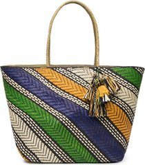 natori woven handbag with tassels, women's natori