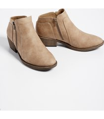maurices womens abigail side zipper ankle bootie beige