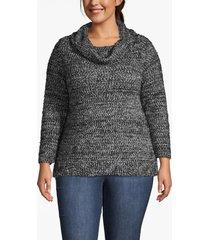 lane bryant women's fuzzy cowlneck sweater 22/24 black/gray