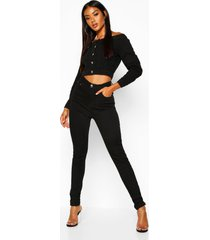 high waisted classic stretch skinny jeans, black