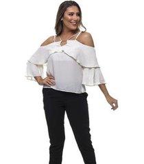 blusa clara arruda decote fivela 20446 - feminino