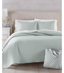 martha stewart essentials solid 3-pc. grey twin quilt and tote bag set, created for macy's