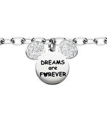 bracciale 'dreams are forever' in acciaio con topolino con strass per donna