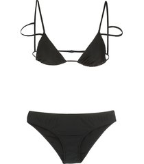 adriana degreas triangle top bikini set - black