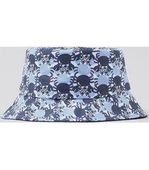 chapéu infantil estampado de caranguejos azul
