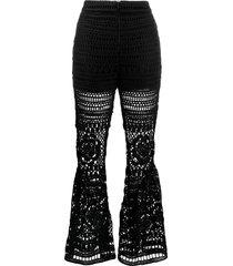 self-portrait crochet trousers - black