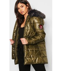cire padded faux fur hooded parka, khaki
