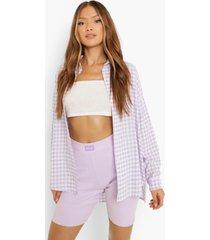 oversized gingham overhemd met textuur, lilac