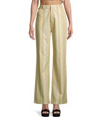 danielle bernstein women's striped wide-leg pants - jade multi - size 4