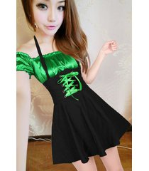 pf269 sexy 2in 1 neck halter dress, spell color, size s-l, green/black