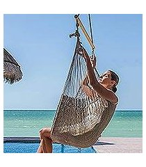 cotton hammock swing chair, 'pate' (large deluxe) (mexico)
