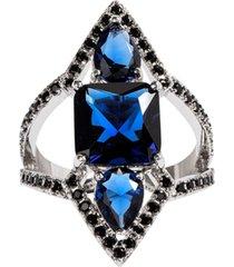 anel prin the ring boutique pedras cristais azul safira ródio ouro branco
