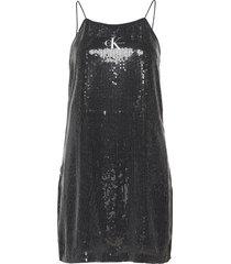 sequin logo strap dress korte jurk zwart calvin klein jeans