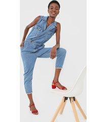macacã£o jeans sacada skinny utilitã¡rio azul - azul - feminino - algodã£o - dafiti