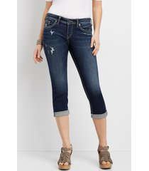 silver jeans co.® womens suki dark wash destructed capri blue denim - maurices