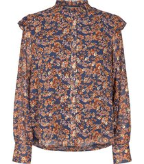 blouse met bloemenprint mai  blauw