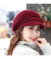 cappello invernale lavorato a maglia da donna, cappello lavorato a maglia, cappello da pelliccia in velluto all'ingrosso, plus