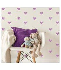 adesivo de parede quartinhos infantil coraçáo lilás poá bolinhas