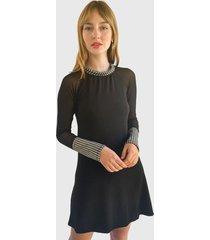 vestido nrg con transparencia negro - calce ajustado