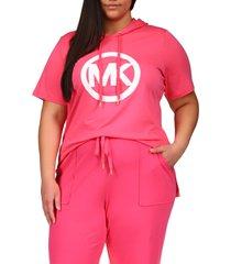 plus size women's michael michael kors mk circle tunic hoodie, size 1x - pink