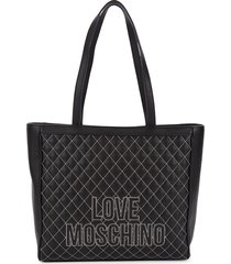 love moschino women's faux leather tote - black