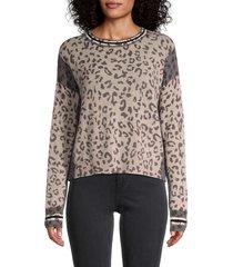 360 cashmere women's krystine leopard sweater - brown multi - size xs