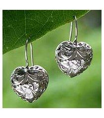 sterling silver heart earrings, 'flourishing love' (indonesia)
