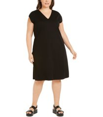 eileen fisher plus size cap-sleeve popover dress