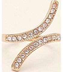 anillo cutt-out con cristales dorado uni