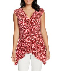 women's chaus polka dot cap sleeve top