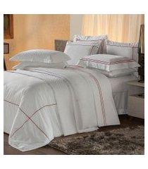 jogo de cama queen plumasul premium harmonious 4 pçs bordado vermelho