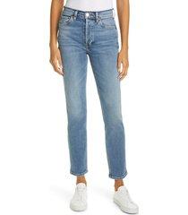 women's re/done '80s high waist slim straight leg jeans, size 31 - blue