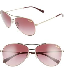 women's coach 58mm aviator sunglasses - gold/ burgundy gradient