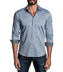 men's jared lang regular fit solid button-up shirt, size large - blue
