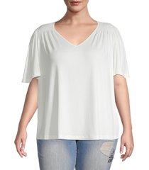 bobeau women's plus flutter-sleeve top - ivory - size 2x (18-20)