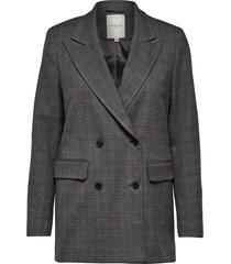 selected femme 16064031 slfmusu check ls blazer b dark grey melange grijs
