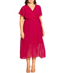 plus size women's city chic softly tied dress, size medium - red