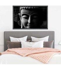 quadro com moldura buddha em cinza grafitti metalizado - médio - tricae