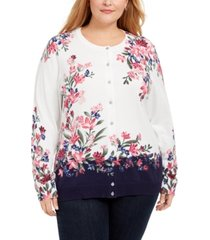 karen scott plus size floral print cardigan, created for macy's