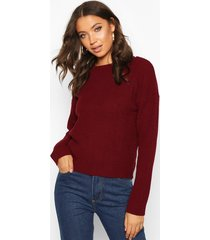 tall crew neck pearl knit crop sweater, berry