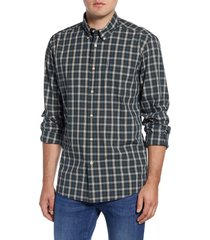 men's barbour highland tailored fit plaid button-down shirt, size x-large - green