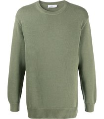 closed crew neck loose fit pullover - green