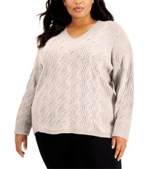 calvin klein plus size chain-stitch sweater
