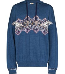 iroquois denim knit hoodie - blue