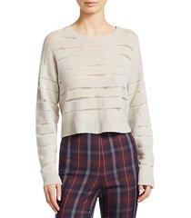 cropped sheer stripe sweater